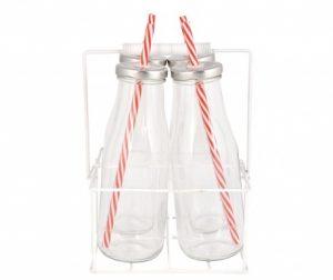 Set 4 boce sa poklopcem i slamkom sa držačem Milkyway Basket