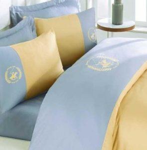 Posteljina King Satin Supreme Polo Club Yellow Silver