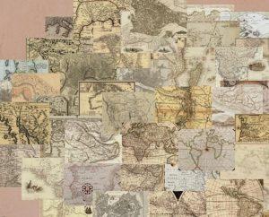 64-dijelni set tapeta Vintage Maps