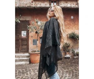 Ženska marama Piuma Nero 130x180 cm