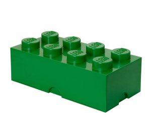 Kutija s poklopcem Lego Rectangular Extra Dark Green