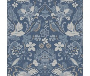Tapeta Folk Floral Denim Blue 53x1005 cm