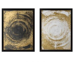 Set 2 slike Circles Golden 34x44 cm