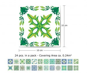 Set 24 naljepnica Tiles Turkish Green