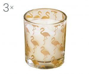Set 3 svijeće Flamingo