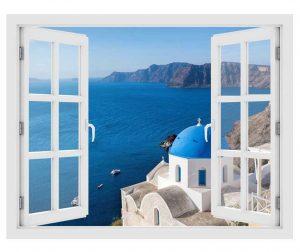 Naljepnica 3D Window Santorini Oia