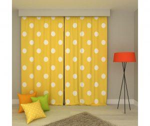 Set 2 zastora Polka Dots Large Yellow & White 140x250 cm