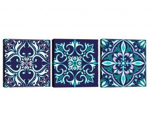 Set 3 slike Mandala Blue 30x30 cm
